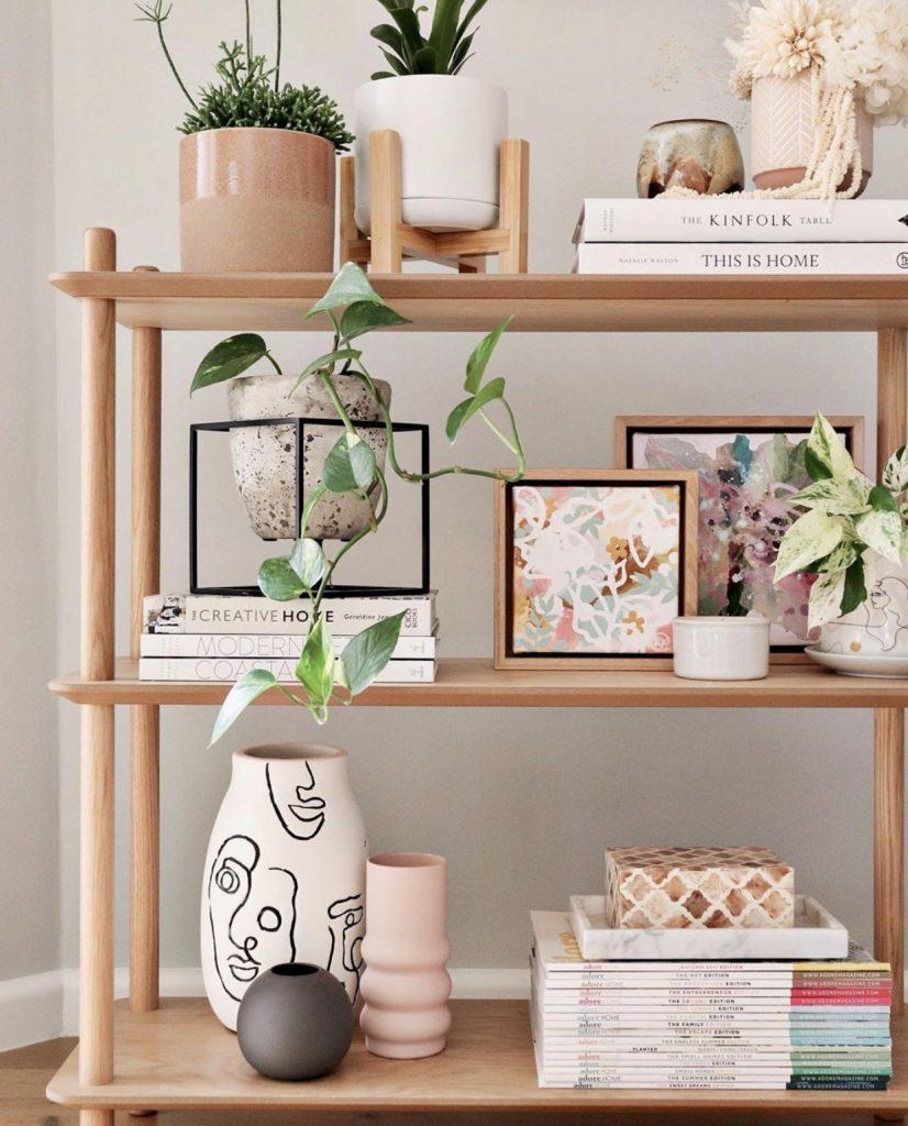 Bookshelf dried floral arrangement