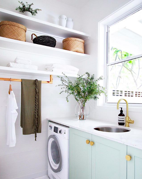 Coastal laundry green doors