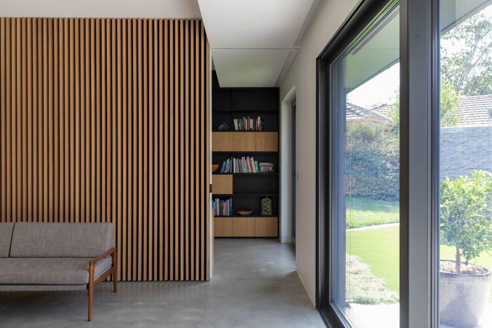 Internal oak joinery in Concrete House