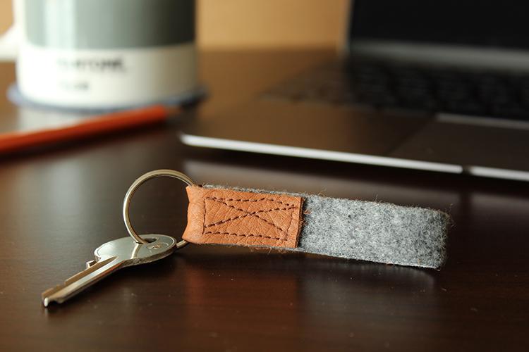 DIY leather and felt keyring
