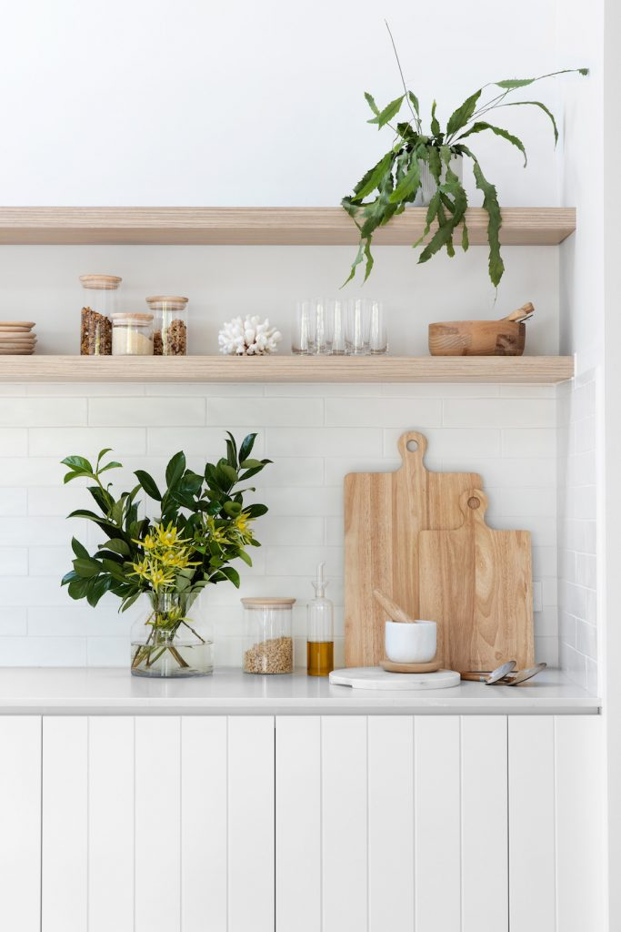 Kitchen styling with boards and shelving