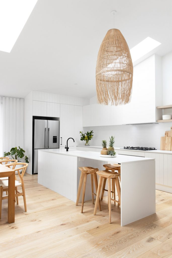 Kitchen dining with large pendant light