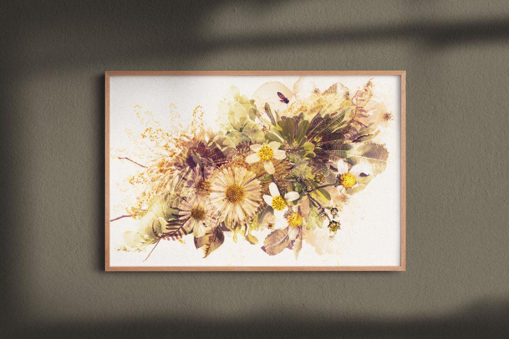 Caramel bouquet art print by Paper and Flower