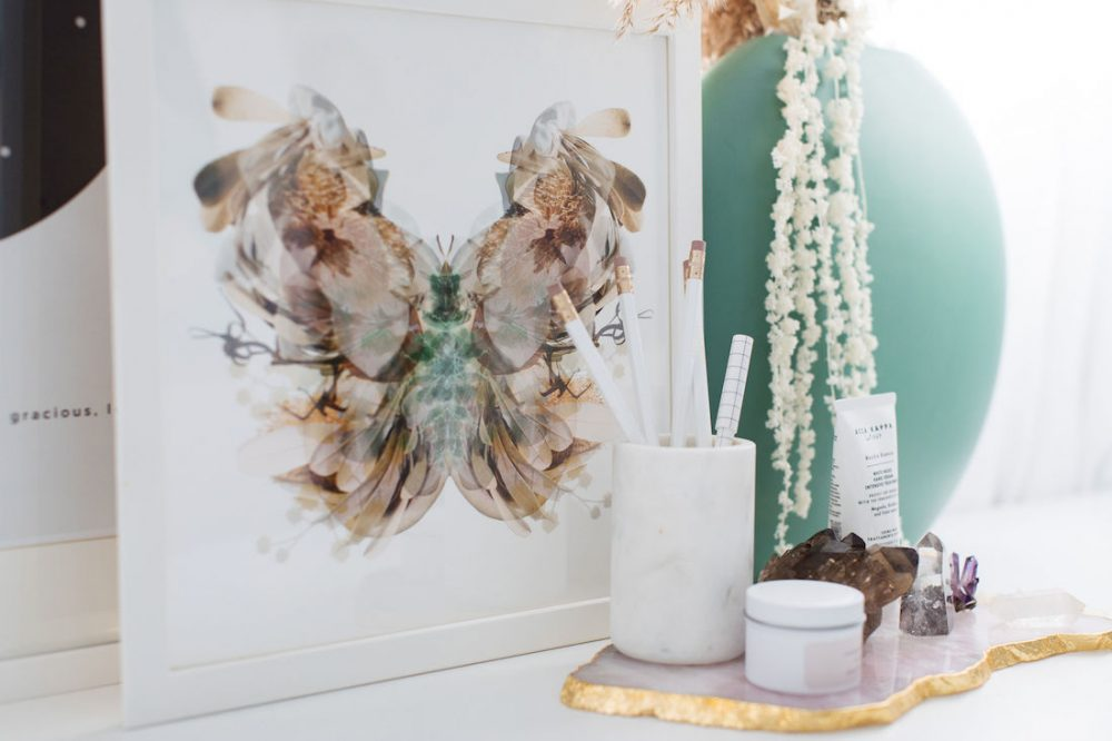 Paper and Flower moth art