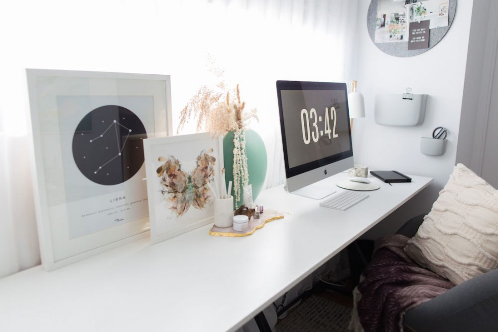 Home office styling with colour