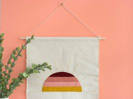 Sunset wall art using felt