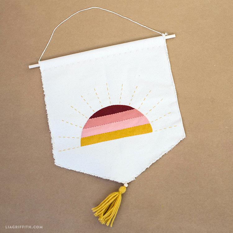 Sunset wall art using felt