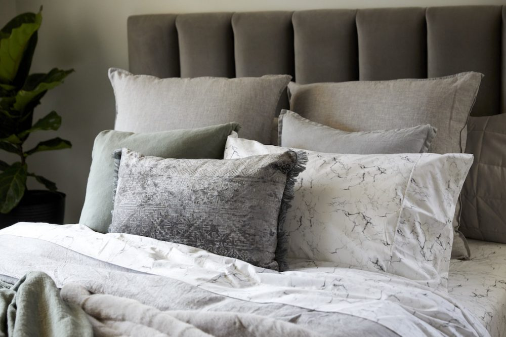 Cushion styling in guest bedroom The Block 2020 Daniel and Jade