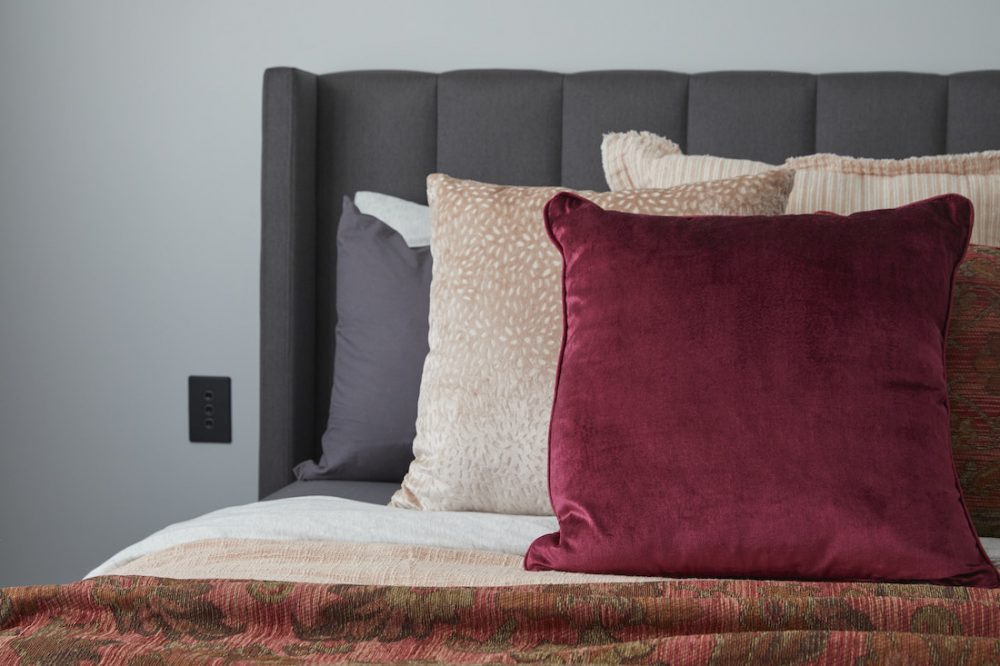 Cushion styling in guest bedroom The Block 2020 George and Sarah