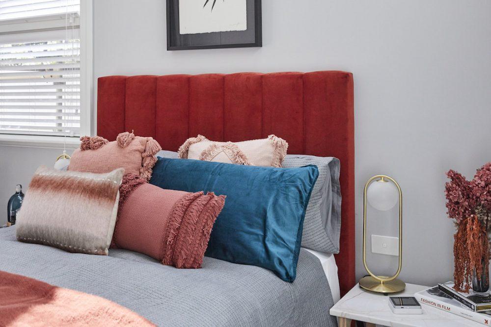 Harry and Tash guest bedroom week 1 The Block 2020 red velvet bed