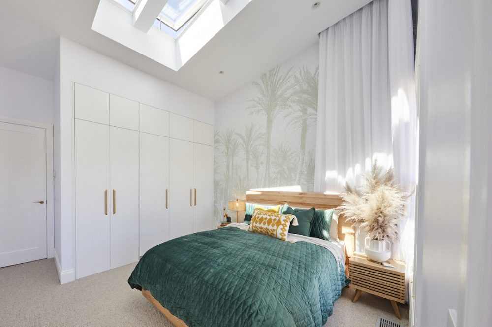 Guest bedroom with skylight by Jimmy and Tam The Block 2020