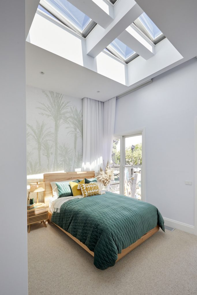 Skylight and high ceilings The Block 2020 Jimmy and Tam guest bedroom