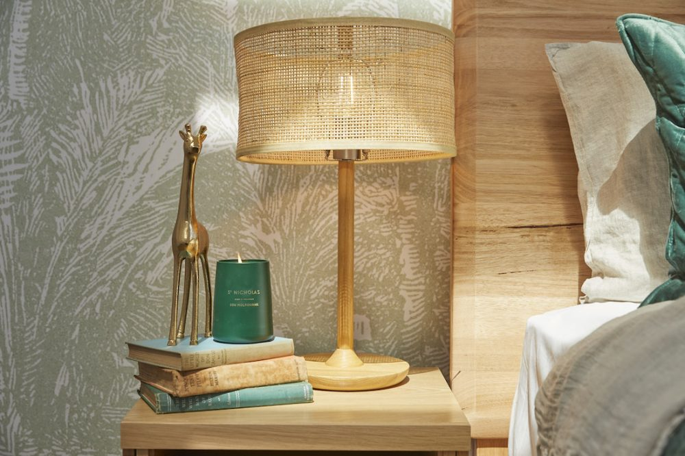 Side table styling in guest bedroom by Jimmy and Tam The Block 2020