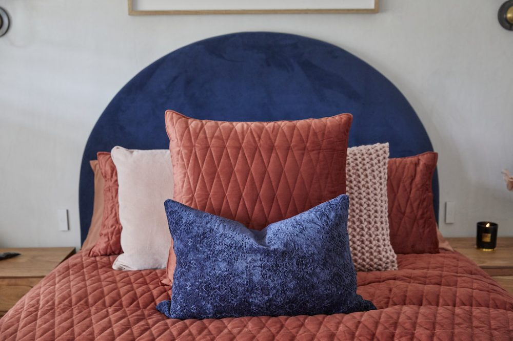 Cushion styling on guest bed by Luke and Jasmin The Block 2020