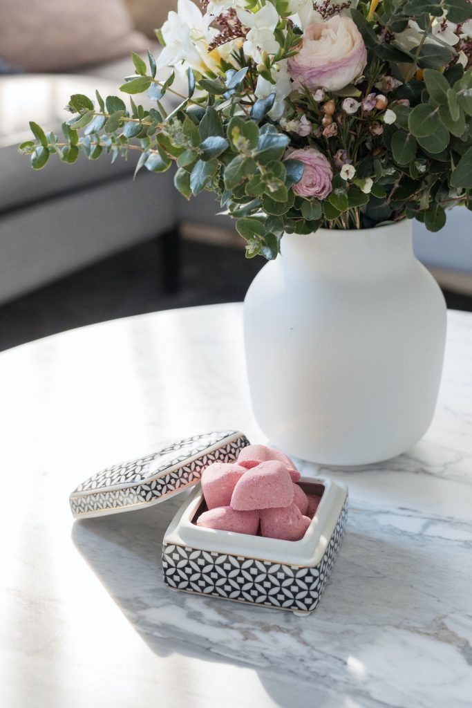 Close up of DIY mini Valentine bath bombs