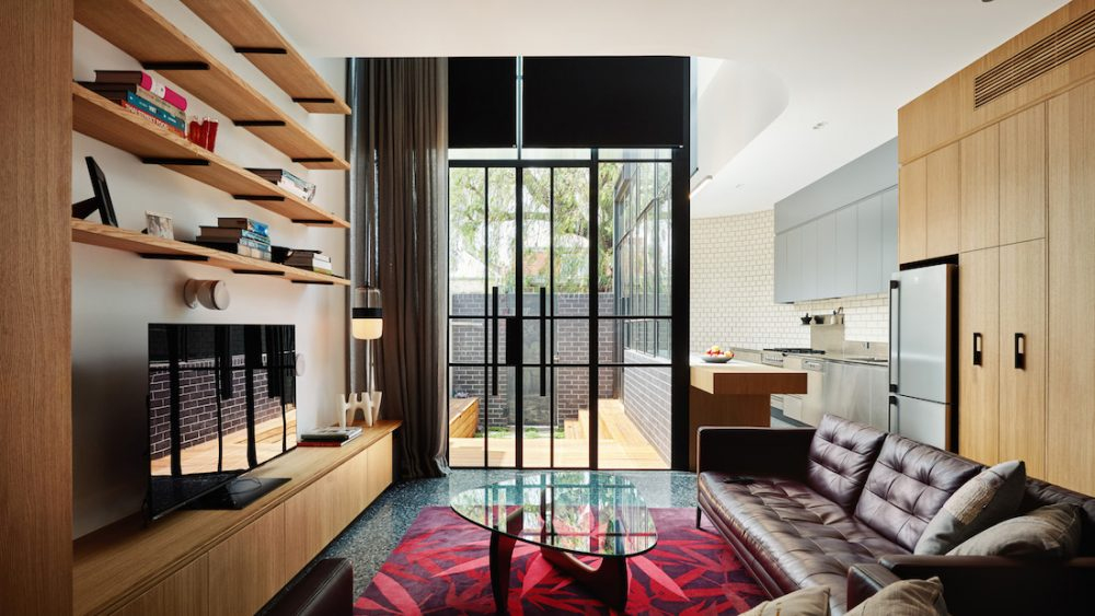 Turn House_Rebecca Naughtin Architect_living room with view to outside