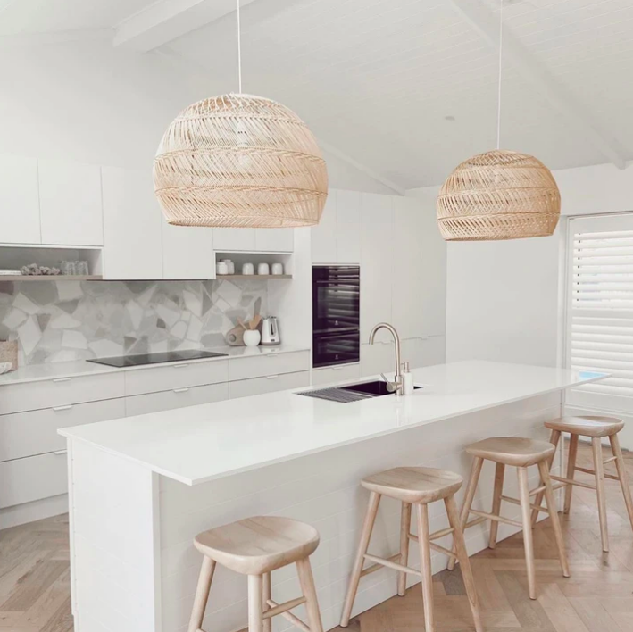 Wanderlust Lighting pendants over kitchen island