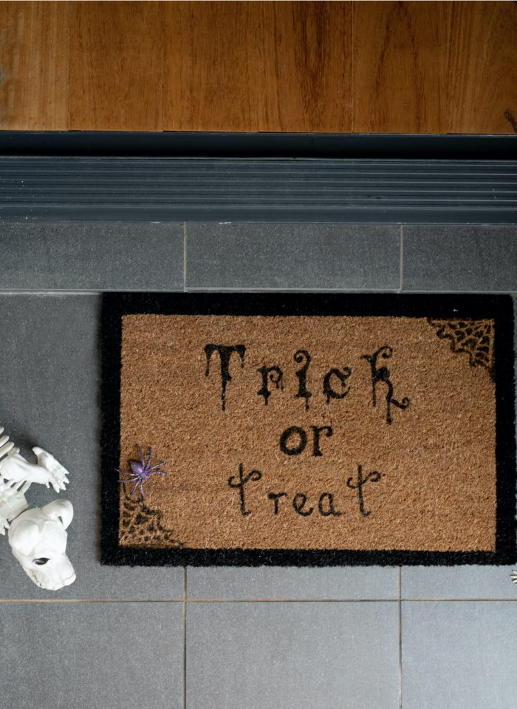 Door mat birds eye DIY Halloween door mat