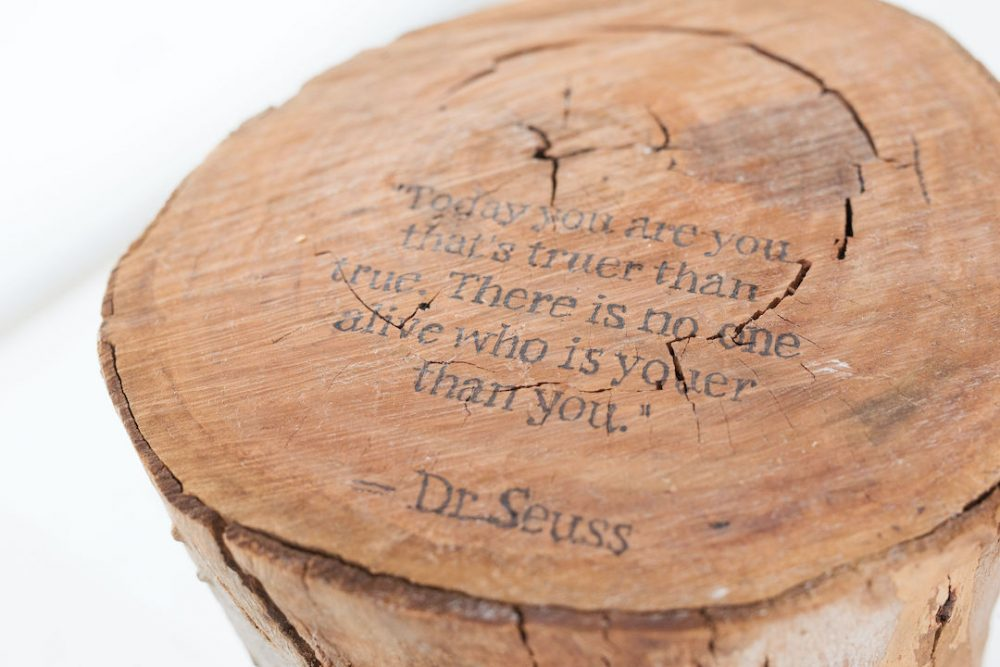 Finished message on personalised stump side table