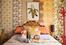 Flinders Nuthouse_mismatched bedroom wallpaper