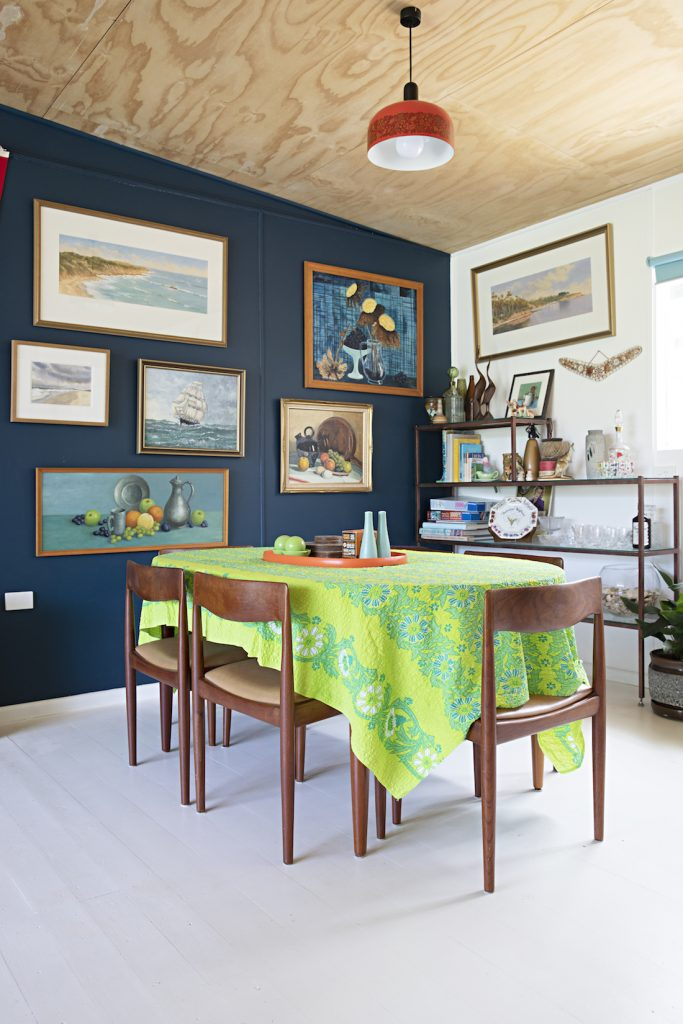 Flinders Nuthouse_navy art wall dining room