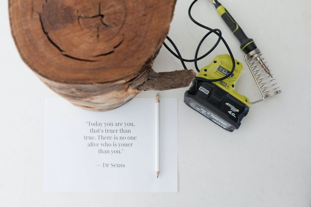 Items you will need to make stump side table