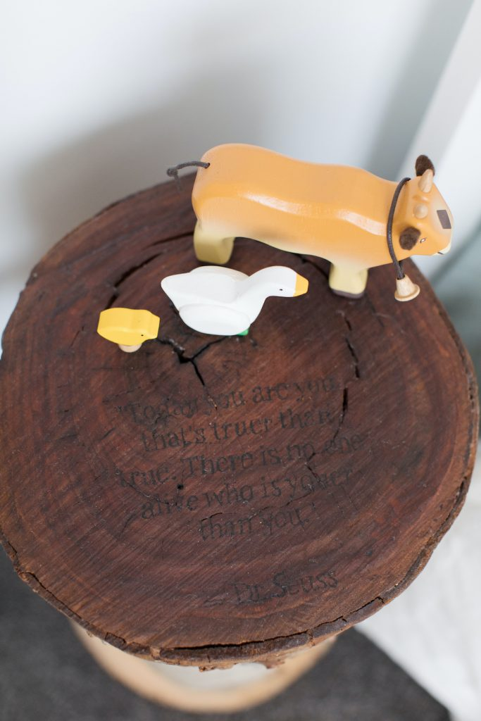 Personalised stump side table with Dr Seuss quote