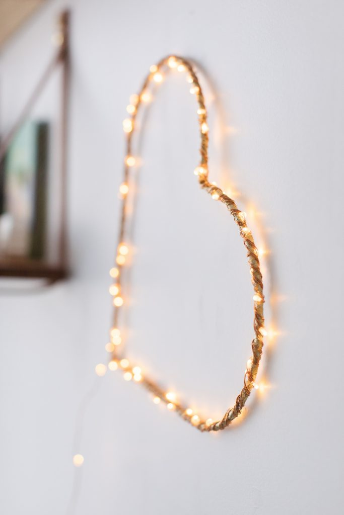 Wrap heart in ribbon and fairy lights