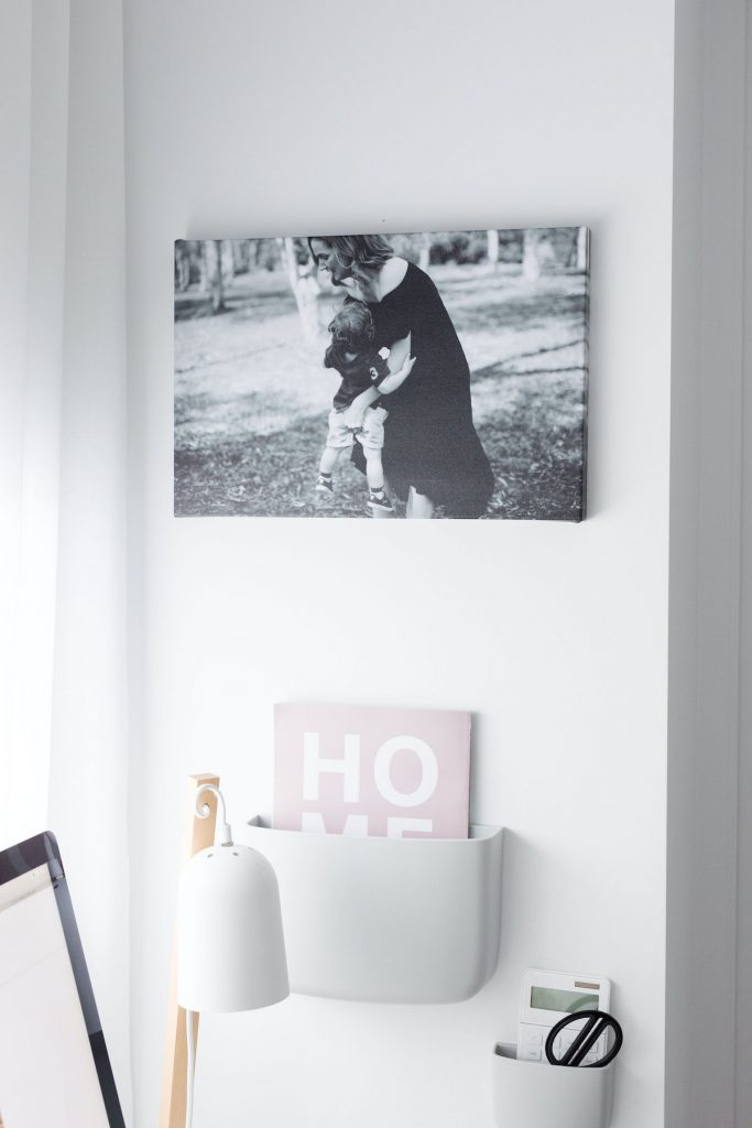 Black and white canvas photograph ways to incorporate family photos in home