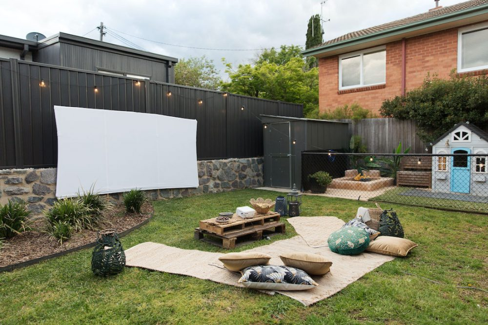 Outdoor cinema in backyard