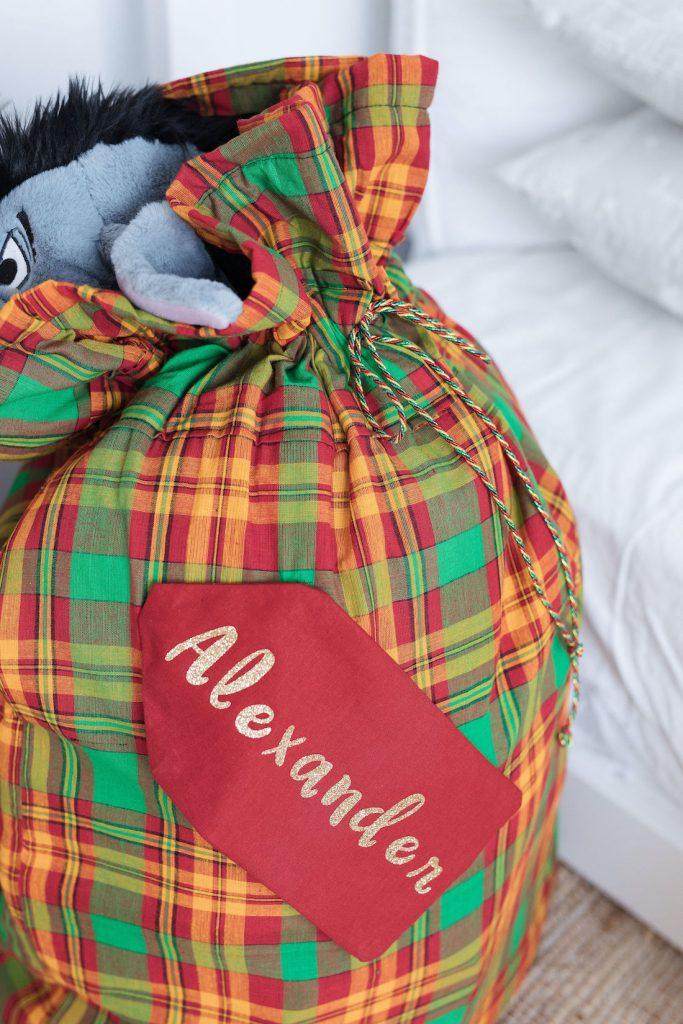 Close up details of santa sack