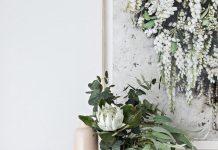 Vase of eucalyptus branches