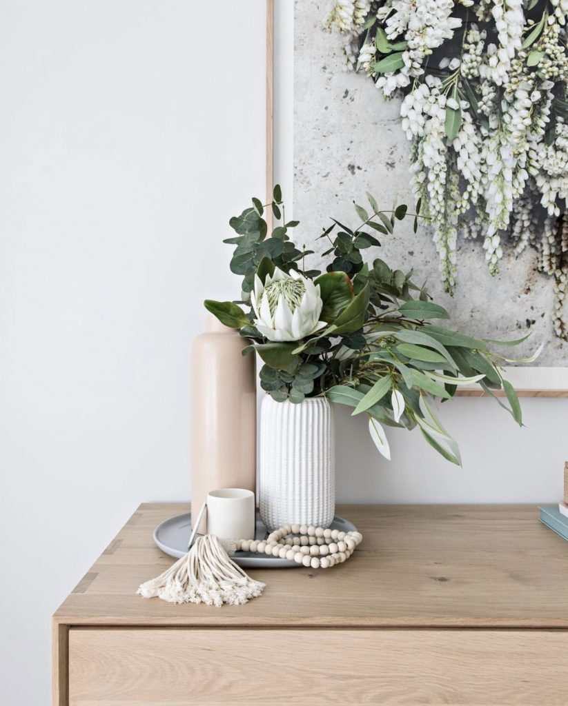 Vase of eucalyptus branches