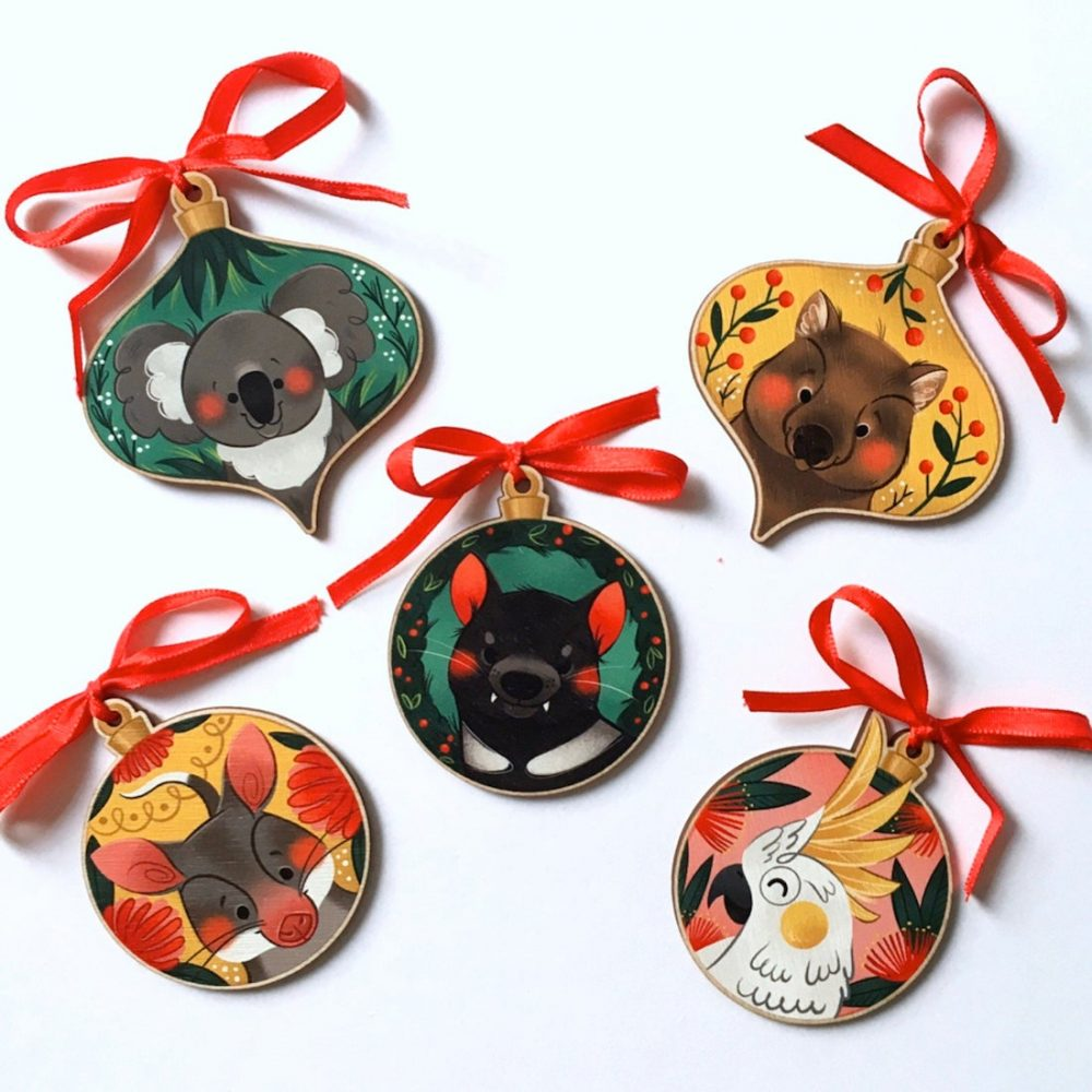 Australian handmade Christmas decor - Australian animal ornaments