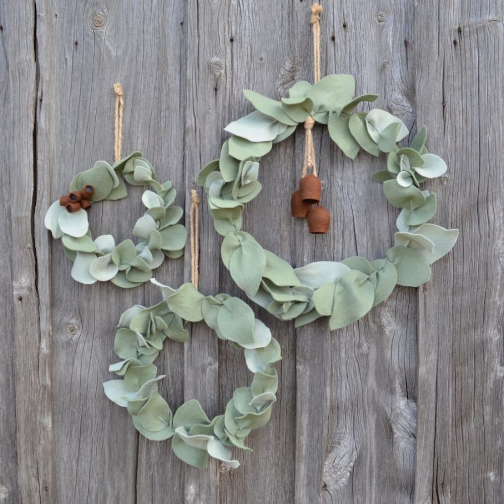 Australian handmade Christmas decor - felt wreath decorations