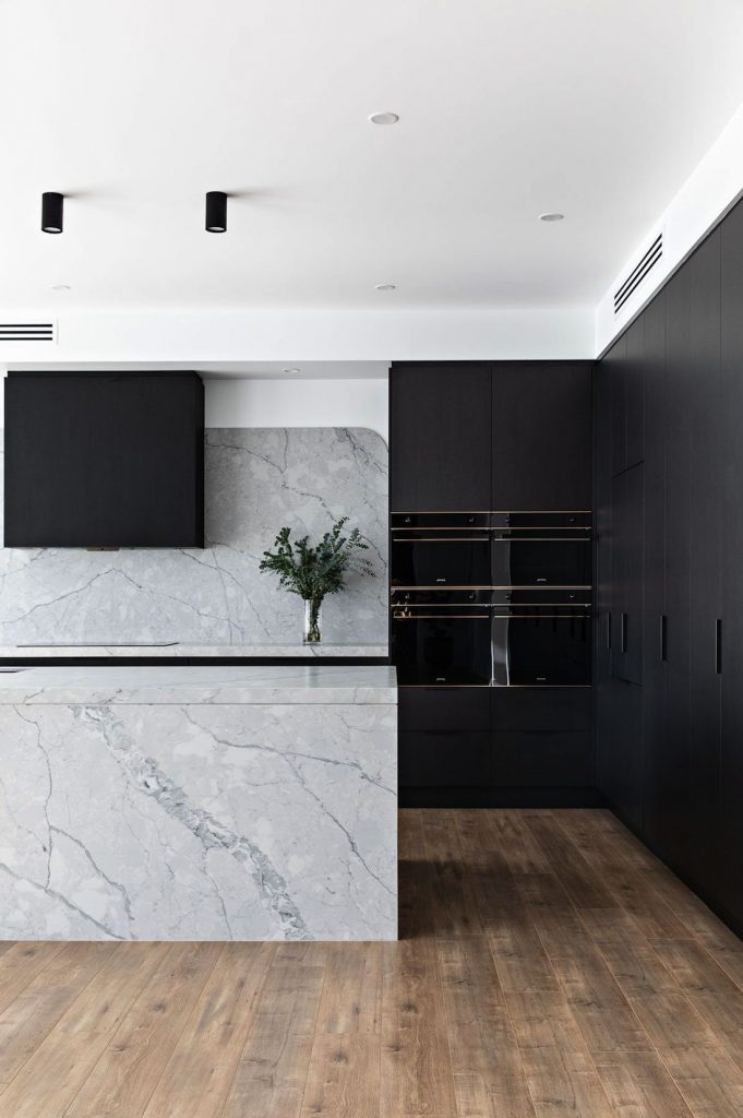 Black kitchen with seamless appliances