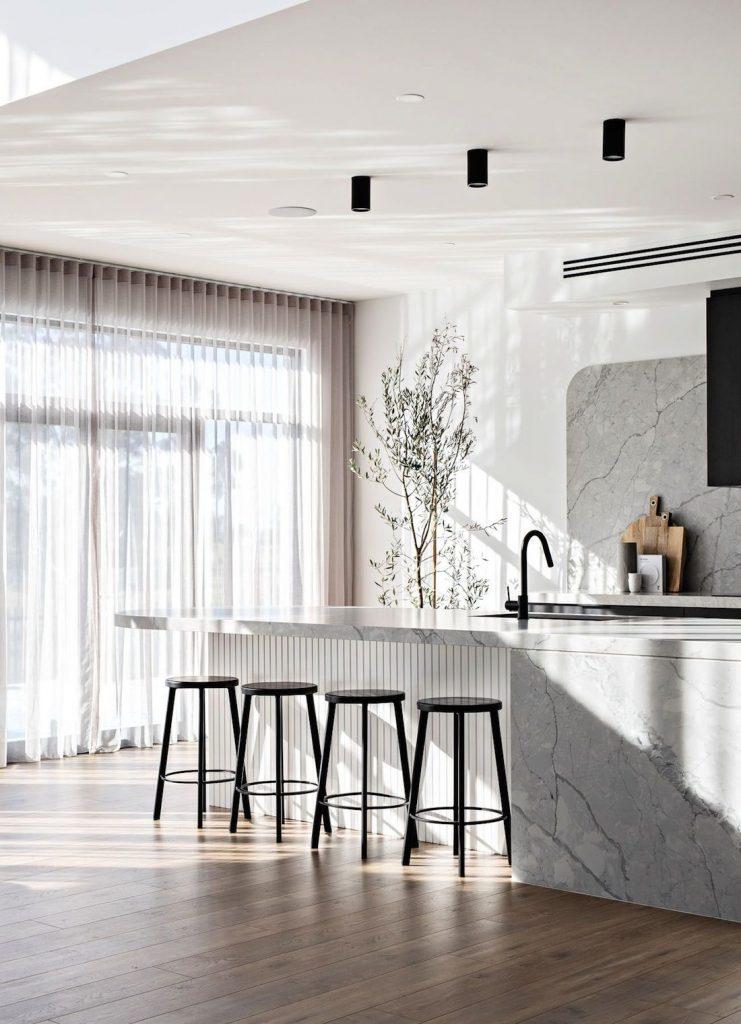 Light and bright black kitchen