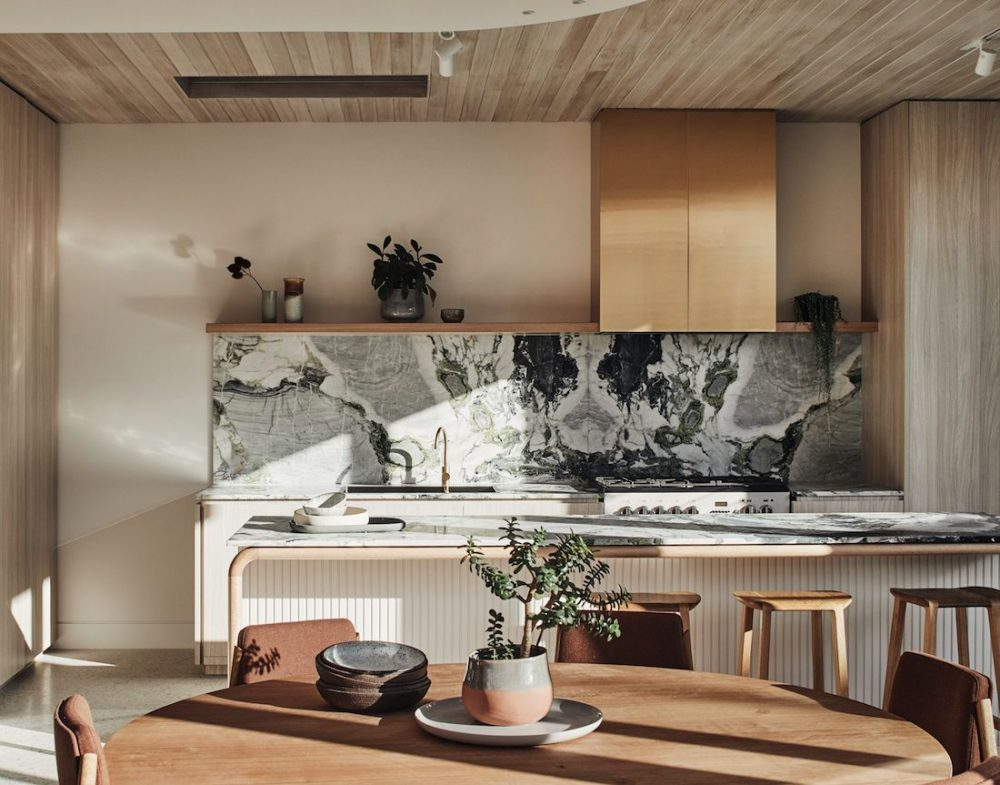 Natural stone kitchen splash back