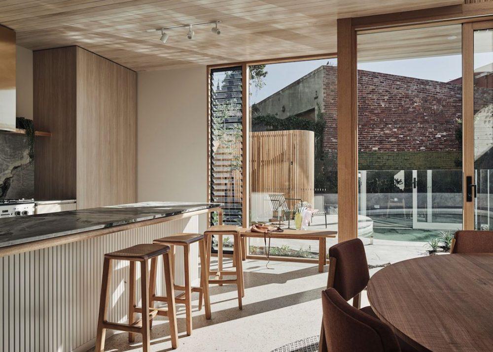 open plan indoor outdoor with timber ceiling