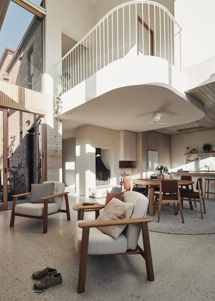 Living room with skylight and curved mezzanine floor