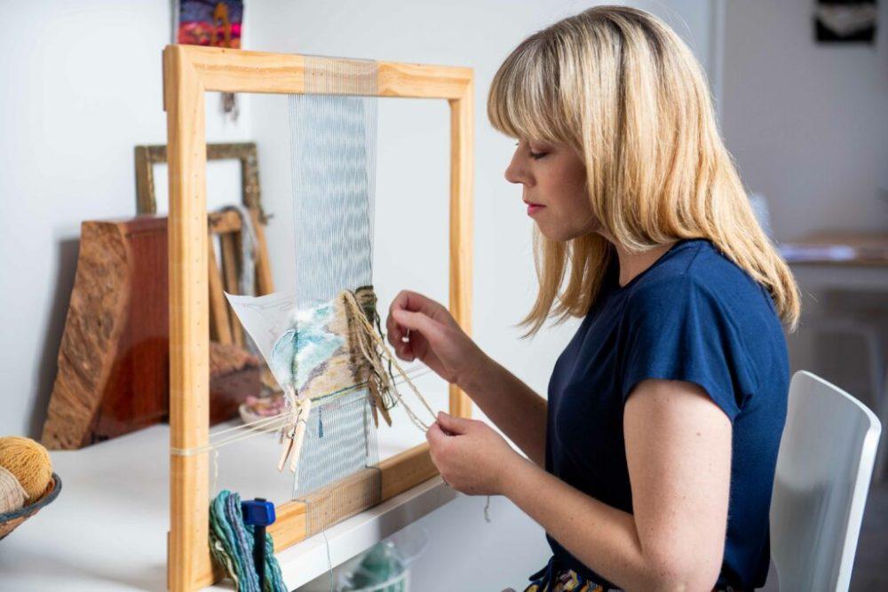 Tapestry artist Lee Leibrandt at her loom