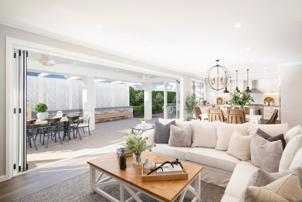 Hamptons living room open to outdoor