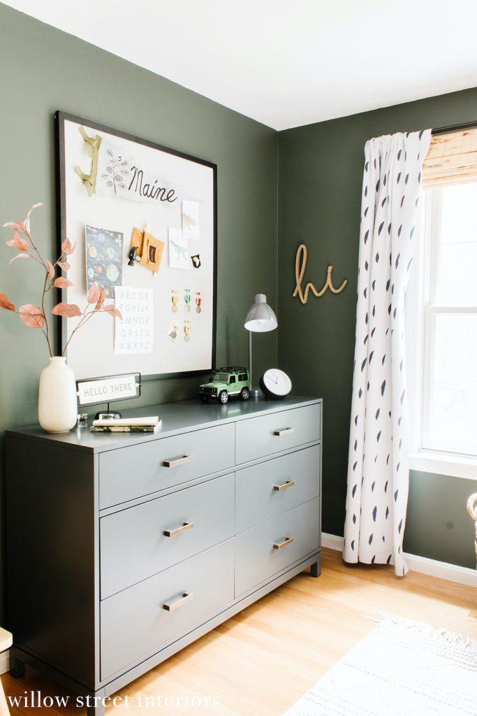 Olive green bedroom