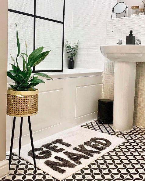 Peace lily in white and black bathroom