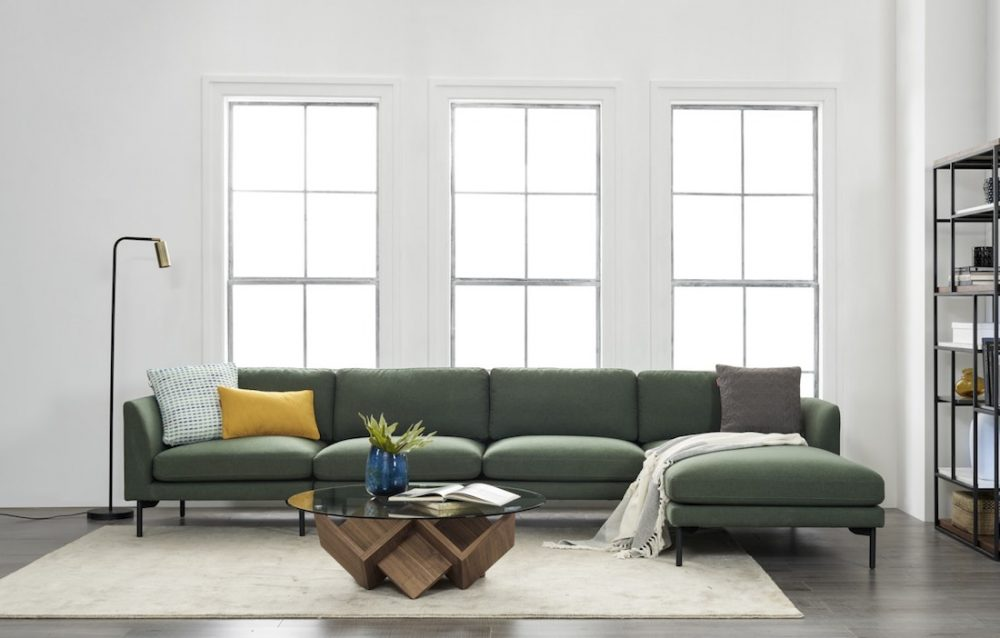 Sectional sofa with chaise in forest green