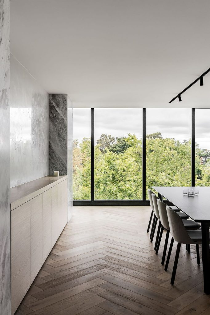 Floor to ceiling dining room view from Penthouse