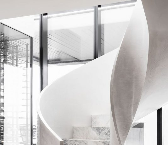 Curved marble staircase