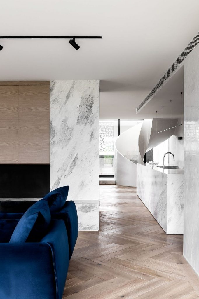Living room to kitchen with marble features