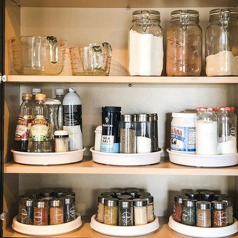 Organised pantry featuring spices on tray