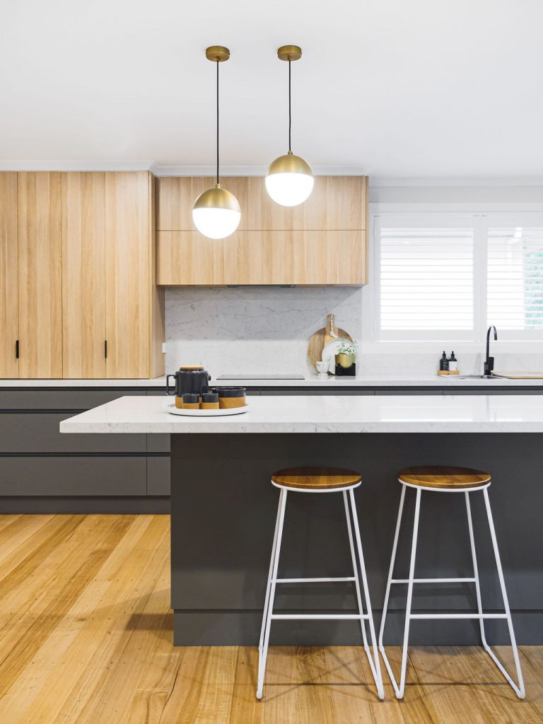 Grey and timber kitchen with island bench